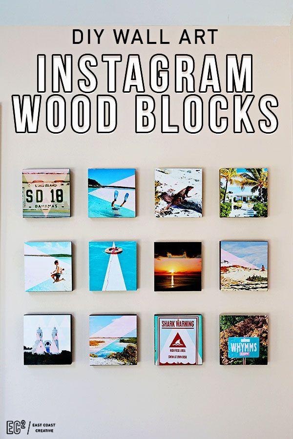 Put your Instagram memories on display with this DIY wood block gallery wall via East Coast Creative.