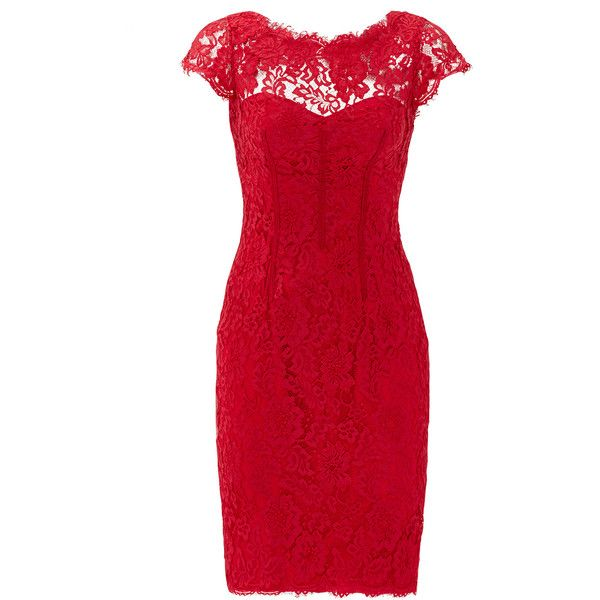 Rental ML Monique Lhuillier Sweet Candy Apple Sheath ($70) ❤ liked on Polyvore featuring dresses, red, red sweetheart dress, lace dress, trumpet dress, red sheath dress and sweetheart dress