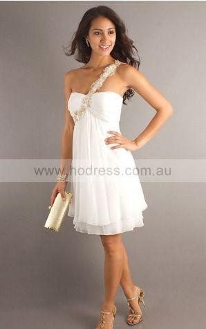 One Shoulder Knee-length Chiffon Empire Zipper Evening Dresses gt0721--Hodress