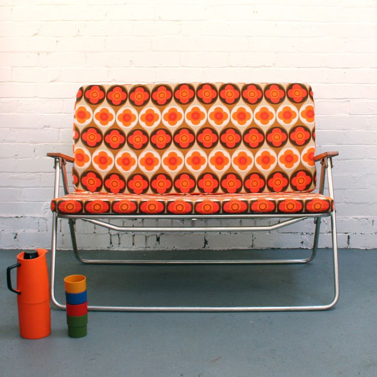 Vintage Two-Seater Folding Deckchair