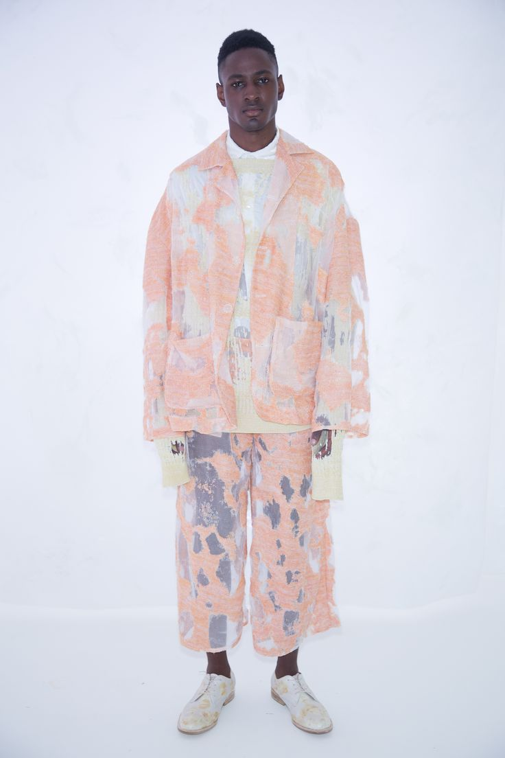 KA WA KEY Spring Summer 2017 London Collections: MEN Experimental sensuous romantic textile on Menswear / Womenswear / Knitwear as an east-meet-west impressionism painting Sunset Orange Devore Knit Jacket Lime Cable Sweater Devore Knit Trousers
