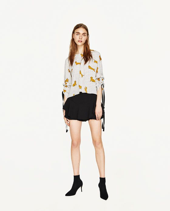 ZARA - WOMAN - SHORT BLOUSE WITH DOGS PRINT