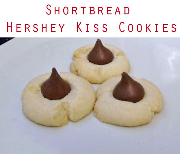 Shortbread Hershey Kiss Cookies Recipe - great Christmas cookie recipe and Valentine's Day cookie recipe!