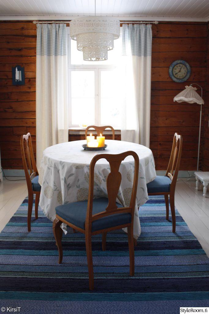 ruokailutila,ruokapöytä,keittiö,mökki,raidallinen,räsymatto,ruokailuryhmä,sin