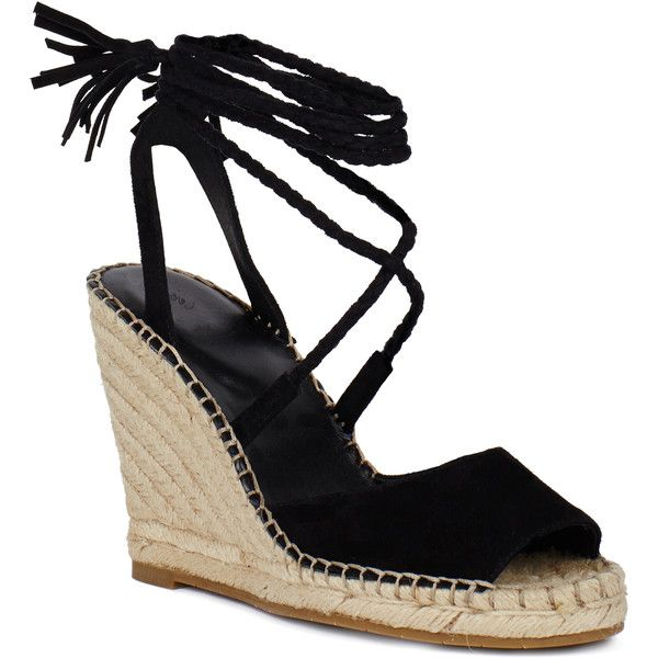 Phyllis Wedge Sandal ($295) ❤ liked on Polyvore featuring shoes, sandals, black, peep toe wedge sandals, black wedge sandals, ankle wrap espadrille, black wedge shoes and black high heel sandals