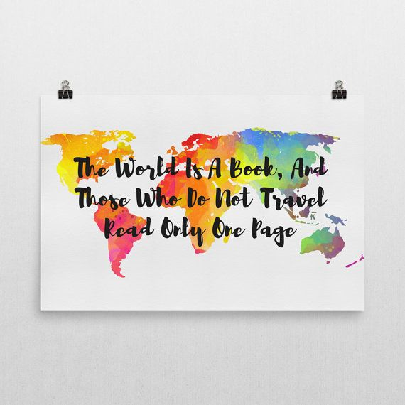 25 best world map posters images on pinterest cursive fonts the world is a book and those who do not travel read only one page sign publicscrutiny Image collections