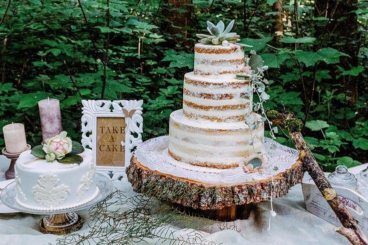 Ein schlichter  #Naked #Cake zur Hochzeit mit einer #Sukkulente und einigen Zweigen.  Foto: Helena PhotoArt