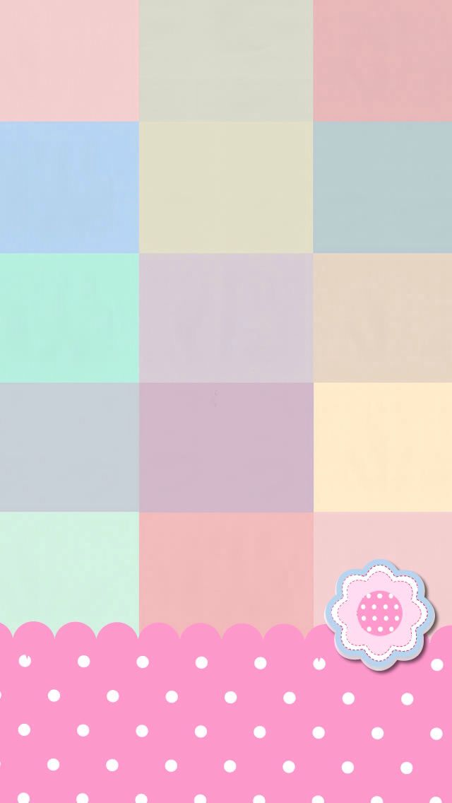Pastel Check & Flower Wallpaper.