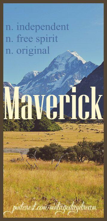 Baby Boy Name: Maverick. Meaning: Independent; Free Spirit; Original; Nonconformist. Origin: American. https://www.pinterest.com/vintagedaydream/baby-names-by-me-vintagedaydream/?eq=baby&etslf=2788