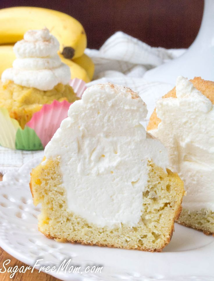 Low Sugar, Low Carb Banana Cream Pie Cupcakes- grain free, gluten free- http://sugarfreemom.com