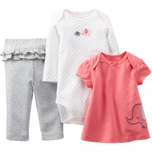 child of mine by carter's newborn girl 3-piece outfit set #elephant #carters - $9.44
