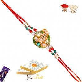 Buy #Rakhi Online #Zardozi Keri design Rakhi with Pearl from http://www.rakhistoreonline.com/rakhi/zardosi-rakhis/zardozi-keri-design-rakhi-with-pearl.html
