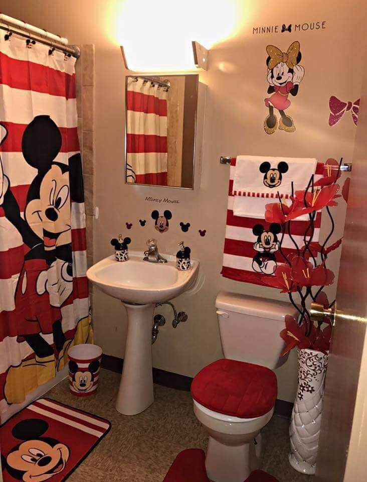 Mickey And Minnie Mouse Bathroom Goals In 2020 Disney Bathroom Mickey Mouse Bathroom Mickey Bathroom