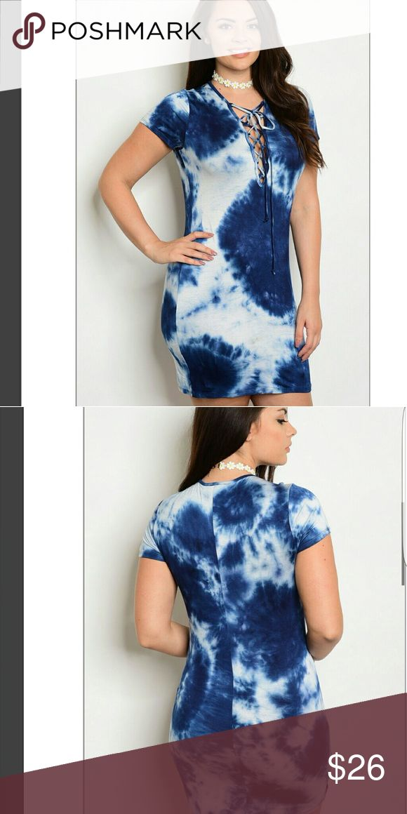 Dress Blue ivory lace up vneck line dress Dresses Mini