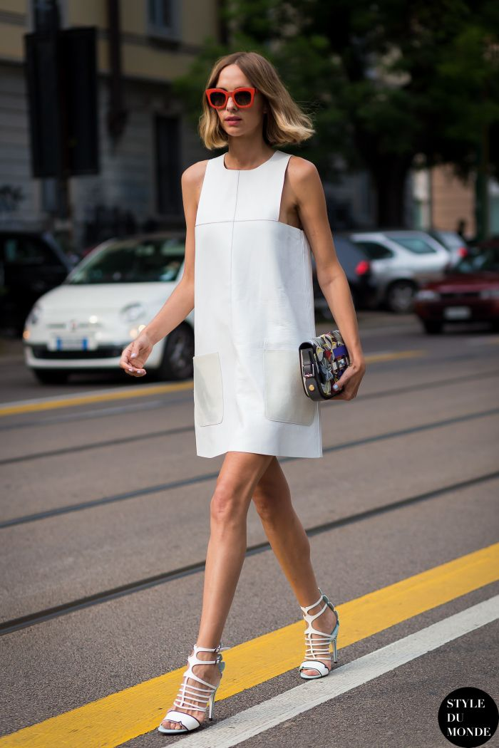 Structured shift dress with strappy heels