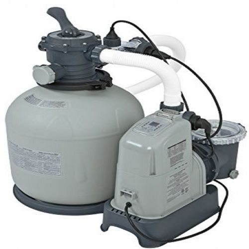 New Intex Krystal Clear 2150 GPH Sand Filter Pump& Saltwater System with E.C.O. New Intex Krystal Clear 2150 GPH Sand Filter Pump & Saltwater System with E.C.O. (Electrocatalytic Oxidation) for Above Ground Pools, 110-120V with GFCI  Designed for use with above ground pools from 4,800 to 15,000 gallon capacity