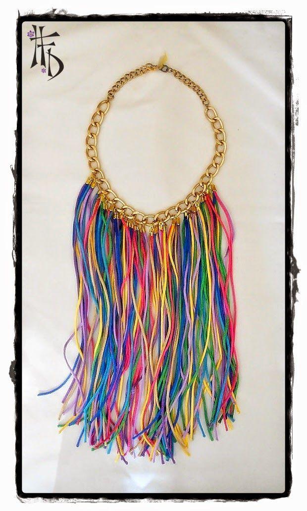 BOHO CHIC. Collar multicolor con flecos de seda / Multicolor necklace with silk fringes