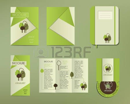 Green and organic corporate identity set template with tree elements. Vector company style for brandbook and guideline. Brochure, cd, notebook. Illustration photo