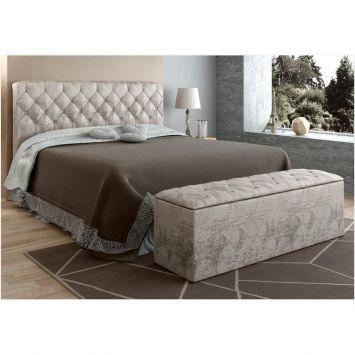 Cabeceira com Calçadeira Baú Paris para Colchão Box de 160 cm de largura - Areia Velvet Chenille