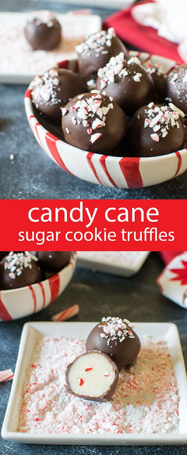 Smooth sugar cookie truffles with a touch of peppermint candy cane crunch inside. Dip in chocolate and sprinkle with candy canes. #christmas #christmascandy #truffles #sugarcookie #chocolate