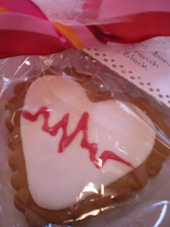 my ekg cookie. a variety of  ekg/heartbeat rhythms were used for each individually wrapped cookie and a tag detailed the name of the specific rhythm. this idea was found here on pinterest. follow the link to see more.