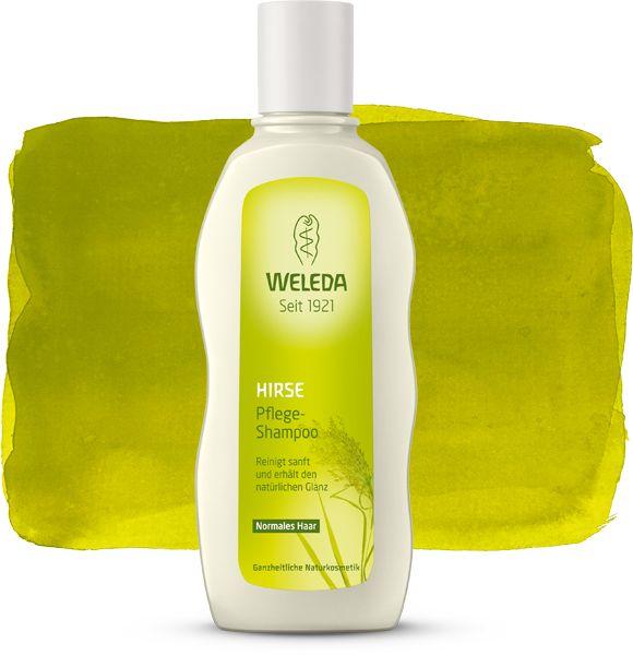 Hirse Pflege-Shampoo - Weleda. Riecht sehr angenehm - wie die Eibisch-Haarpflege von Dr. Hauschka.