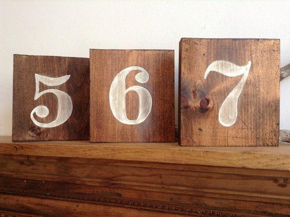 Rustico Numeri tavola di legno, tabella numeri, numeri Tavolo di nozze, numeri di legno, Matrimonio Rustico