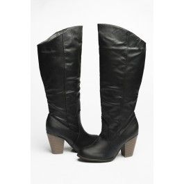 Black leather tall western boots