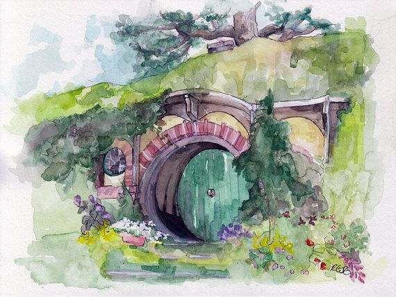 "LARGE Hobbit Hole Prints - Sizes 16x20 and up, ""Bag End"", Lord of the Rings, The Hobbit, The Shire, Hobbiton"