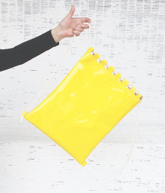 Womens & mens eco leather gym bag Vegan drawstring by Dagabags