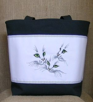 Embroidered cats tote bag