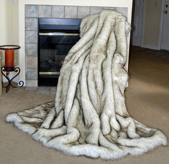 """White Husky Faux Fur, Fake Fur Blanket Throw, 72"""" x 60"""", Ready to Ship! on Etsy, $169.00"""