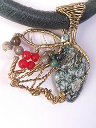 Dendritic Opal Leather Choker  -  'Swept Away' @ www.solace-designs.com