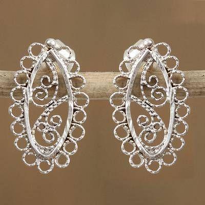 Sterling silver drop earrings, 'Intricate Lace Ovals' - Mexican Sterling Silver Intricate Lacy Oval Drop Earrings