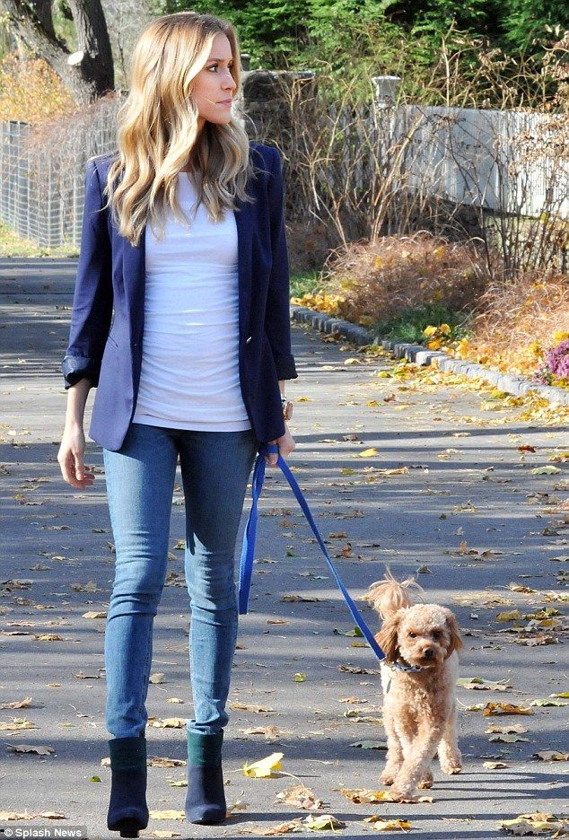 A girl's best friend: Pregnant Cavallari enjoyed the autumn day as she walked with her best buddy Brando