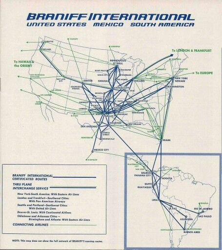 Braniff International route map October 1965