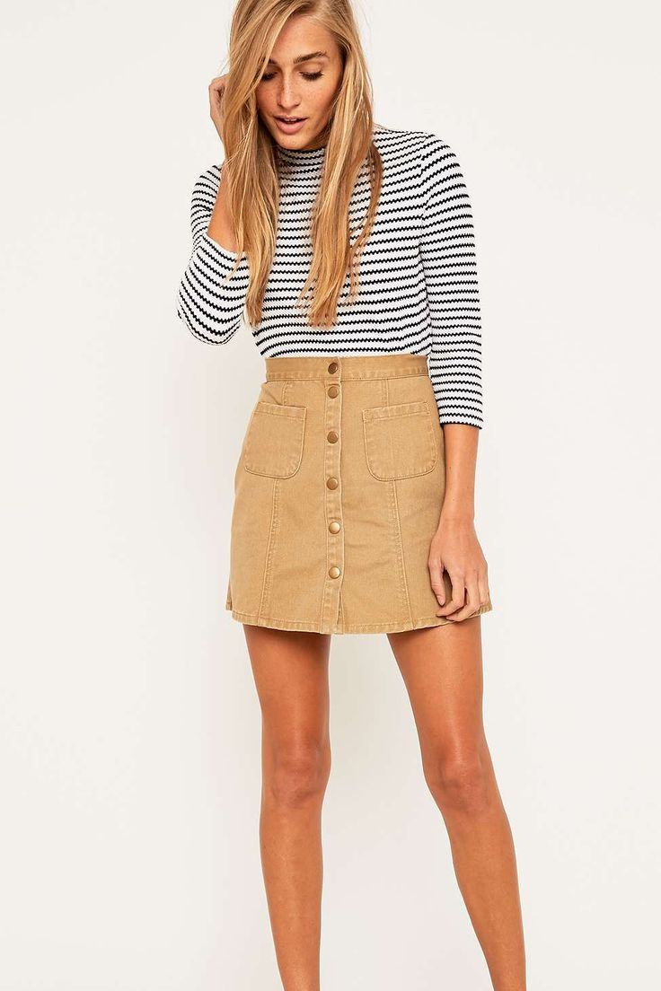 Urban Outfitters Khaki Twill A-Line Skirt