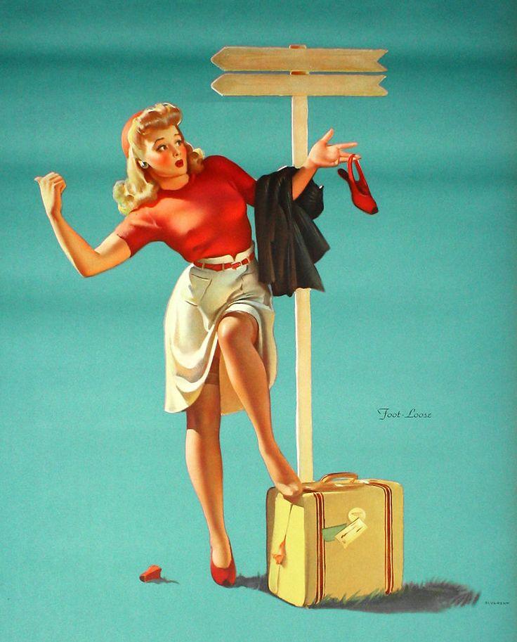Vintage Gil Elvgren 1940s Foot Loose Hitchhiker Pin Up Poster Oversized Fine | eBay