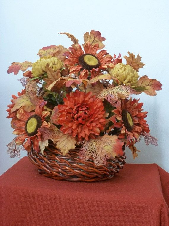 Large thanksgiving fall basket centerpiece by
