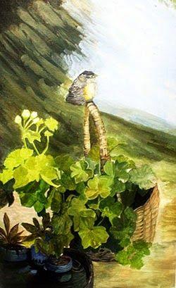 Bird on Basket - Acrylic on Canvas