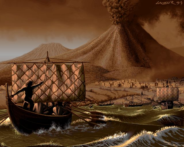 pompey and sea - pixel art from old Amiga 1200 256 color - Demoscene