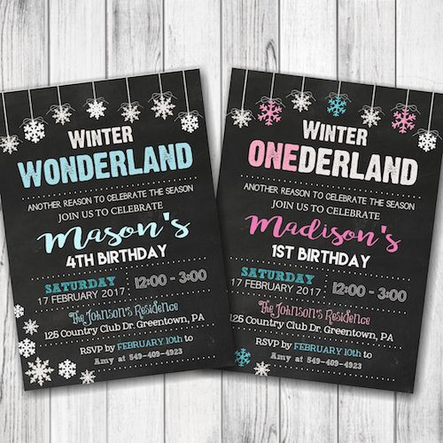 Winter ONEderland Birthday Invitations – Winter WONDERLAND Birthday Party – Christmas Birthday Invitation – Boy, Girl, Siblings, Twins – Double Sided – Digital –