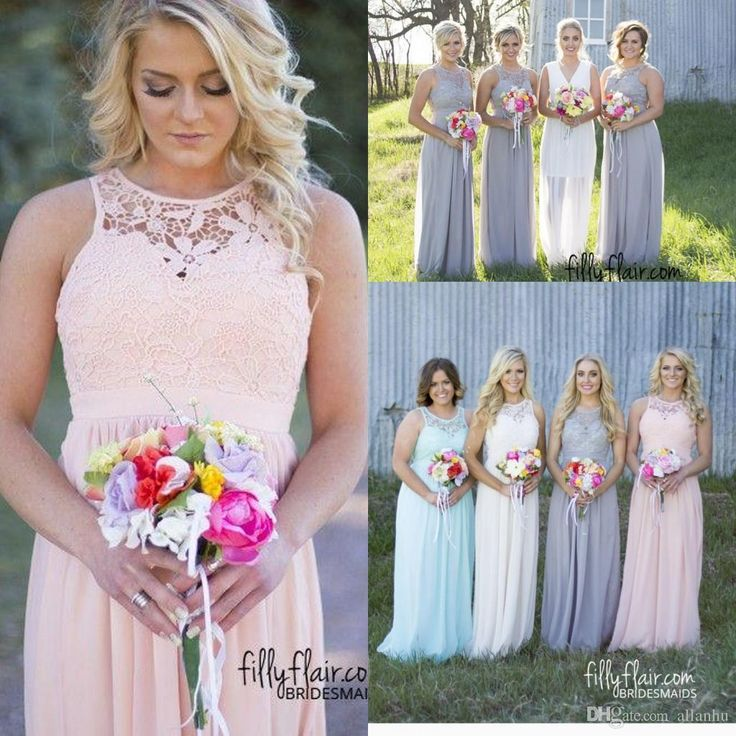Discount Plus Size Colored Country Wedding Dresses Long: 2016 New Country Style Cheap Plus Size Bridesmaid Dresses
