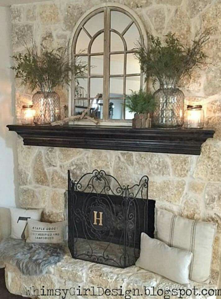 Decorating mirror over fireplace house pinterest for Decor over fireplace