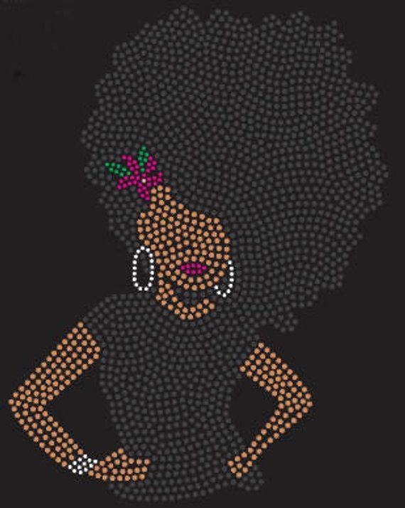 Rhinestone Bling Black Afro Lady Tshirt  02c90ceb63fe