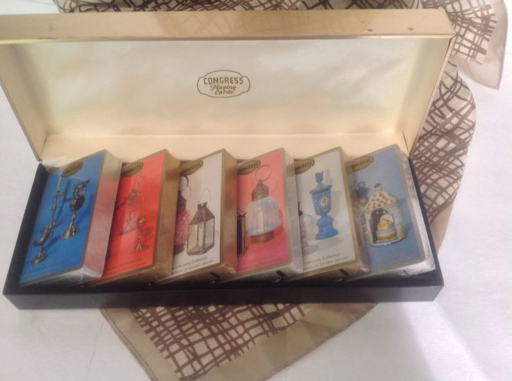 Vintage midcentury set of 6 decks of Congress playing cards in faux leather storage box by BonBibelots on Etsy