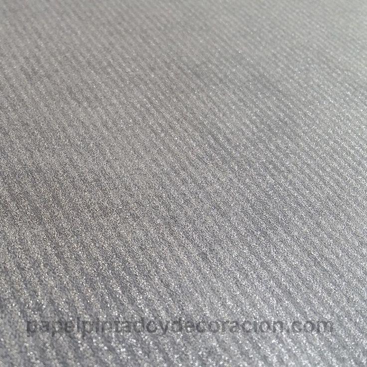 Papel pintado gris rayas doradas textura rugosa PDA8125811