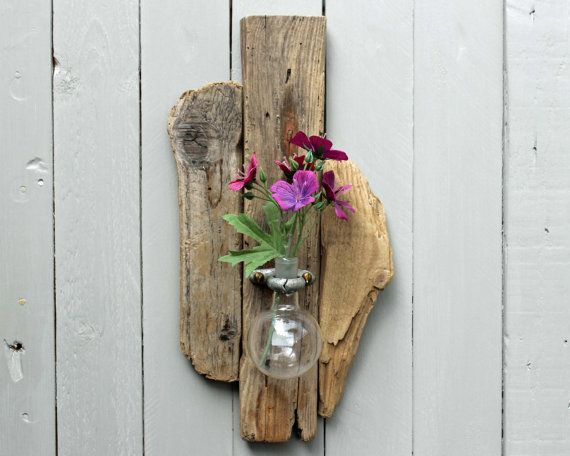 Driftwood Upcycled Chemistry Glass Wall Sconce by ReclaimedTime, £34.99