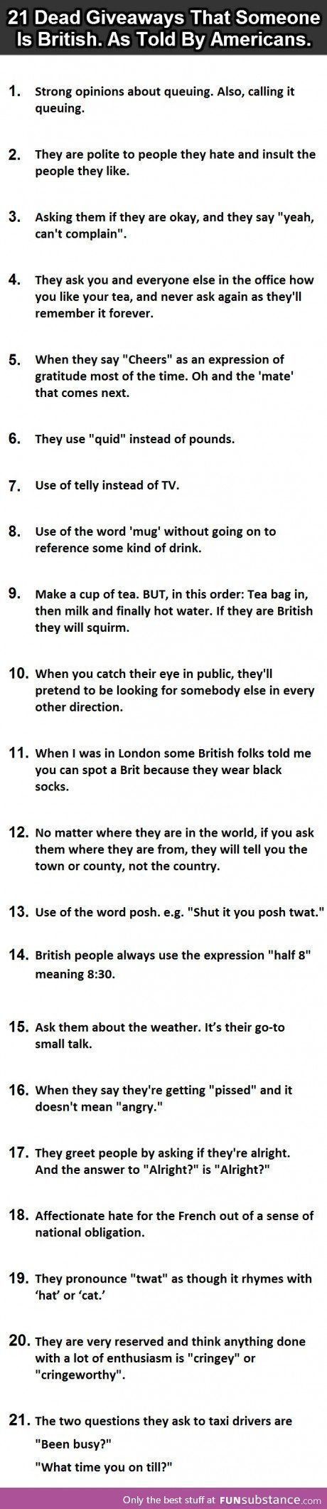 How to identify a British
