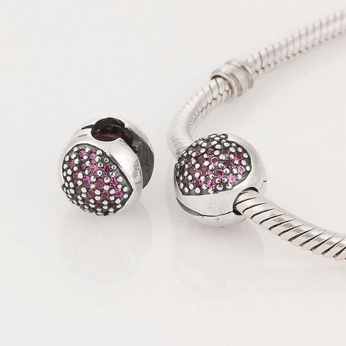 Lily Jewelry Pavé Open My Heart Pink CZ Clip 925 Sterling Silver Bead Fits Pandora Charm Bracelet Fh5miyVL